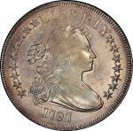 1797 Draped Bust Silver Dollar. Bowers Borckardt-73, Bolender-1. Rarity-3. Stars 9x7, Large Letters.