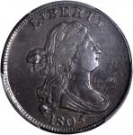 1805 Draped Bust Half Cent. C-4. Rarity-2. Large 5, Stems to Wreath. AU-55 (PCGS). CAC.