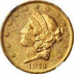 1873 Liberty Head Double Eagle. Open 3. MS-61+ PL (NGC).