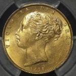 GREAT BRITAIN Victoria ヴィクトリア(1837~1901) Sovereign 1871 PCGS-MS63 UNC