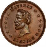Circa 1865 Washington / Lincoln REVERSE medal. Musante GW-764, Baker-240A. Copper. MS-64 BN (PCGS).