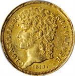 ITALY. Naples. 20 Lire, 1813. Naples Mint. Joachim Murat. PCGS AU-58 Gold Shield.