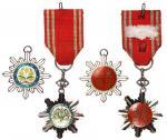 民国六及八等嘉禾勋章共两枚,银质珐琅