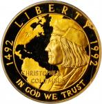 1992-W Christopher Columbus Quincentenary Gold $5. Proof-69 Deep Cameo (PCGS).