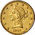 1842 Liberty Head Eagle. AU-50 (PCGS).