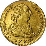 COLOMBIA. 1772-VJ 2 Escudos. Santa Fe de Nuevo Reino (Bogotá) mint. Carlos III (1759-1788). Restrepo