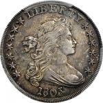 1803 Draped Bust Silver Dollar. BB-252, B-5. Rarity-2. Small 3. AU-53 (PCGS).