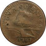 1787 New Jersey copper. Maris 64-u. Rarity-5. Large Planchet, Plain Shield. VF-20 (PCGS).