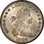 1802 Draped Bust Silver Dollar. Bowers Borckardt-241, Bolender-6. Rarity-1. Narrow Date. Mint State-