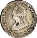 ECUADOR. 4 Reales, 1857-QUITO GJ. Quito Mint. NGC Fine Details--Planchet Flaw.