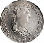 MEXICO. War of Independence. 8 Reales, 1821-Zs RG. Zacatecas Mint. Ferdinand VII. NGC AU-53.