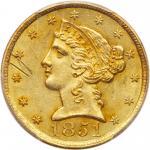 1851-C $5 Liberty. PCGS UNC