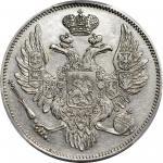 1830-CNB年俄罗斯铂金6卢布。圣彼得堡造币厂。尼古拉斯一世。RUSSIA. Platinum 6 Rubles, 1830-CNB. St. Petersburg Mint. Nicholas