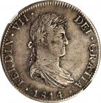 1814-Mo JJ年墨西哥鹰洋一圆银币。MEXICO. 8 Reales, 1814-Mo JJ. Mexico City Mint. Ferdinand VII. NGC VF-35.