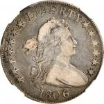 1806 Draped Bust Half Dollar. O-111a, T-11. Rarity-4. 6/Inverted 6. VF-25 (NGC).