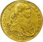COLOMBIA. 1817-JF 8 Escudos. Santa Fe de Nuevo Reino (Bogotá) mint. Ferdinand VII (1808-1833). Restr