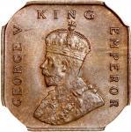 1932年海峡殖民地1/2分铜币,NGC MS64BN