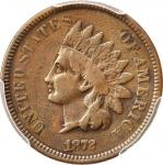 1872 Indian Cent. Bold N. Fine Details--Cleaned (PCGS).