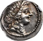 JULIUS CAESAR. AR Denarius (3.95 gms), Military mint traveling with Caesar in North Africa, 48-47 B.