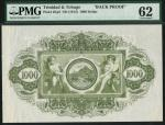 Government of Trinidad and Tobago, reverse proof of a 1000 dollars, ND (1905-26), green, sailing shi