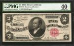 Fr. 245. 1891 $2 Silver Certificate. PMG Extremely Fine 40.