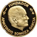 NICARAGUA. Anastasio Somoza Garcia Gold Medal, 1974. NGC PROOF-68 ULTRA CAMEO.