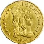1805 Capped Bust Right Half Eagle. BD-1. Rarity-3+. Perfect 1, Close Date. MS-63 (PCGS).