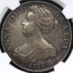 GREAT BRITAIN Anne アン(1702~14) Crown 1703 VIGO NGC-XF45 VF~EF