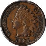 1894/1894 Indian Cent. Snow-1, FS-301. Doubled Date. AU-58 (PCGS).