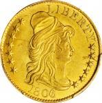 1806戴帽半身像半鹰金币  PCGS UNC Details