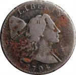 1794 Liberty Cap Cent. S-25. Rarity-3. Head of 1794. VG-8, Corrosion, Scratches.