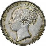 Victoria (1837-1901), Shilling, 1863 over 1, second young head left, rev. crown over value in wreath
