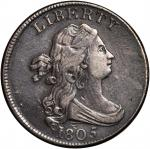 1805 Draped Bust Half Cent. C-4. Rarity-2. Large 5, Stems to Wreath. VF-30 Surfaces Smoothed.