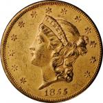 1855 Liberty Head Double Eagle. About Uncirculated, Altered Surfaces (Uncertified).