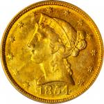 1854-C Liberty Head Half Eagle. Winter-2. Weak C. MS-63 (PCGS).