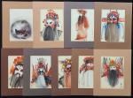 """1970年代香港画家罗伟显 (山林) 绘小品画 """"京剧人物""""八幅及""""猫"""" 一幅. 画面尺寸: 每幅12.5x17.5cm"""