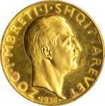 ALBANIA. 100 Franga Ari, 1938-R. Rome Mint. PCGS MS-63 Gold Shield.