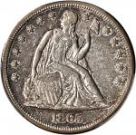 1865 Liberty Seated Silver Dollar. OC-2. Rarity-2. EF-40 (PCGS).