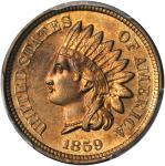 1859 Pattern Indian Cent. Judd-228, Pollock-272. Rarity-1. Copper-Nickel. Plain Edge. MS-64 (PCGS).