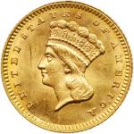 1862 $1 Gold Indian. PCGS MS63