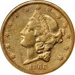 1866-S Liberty Head Double Eagle. No Motto. EF-40 (NGC).