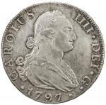 SPAIN: Carlos IV, 1788-1808, AR 8 reales, Sevilla, 1797-S, Calicó-1059, initials CN, better date, wi