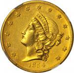 1854 Kellogg & Co. $20. K-1b. Rarity-5. Short Arrows. AU Details--Cleaned (NGC).