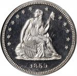 1859 Liberty Seated Quarter. Proof-64 Cameo (NGC). CAC.