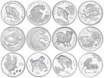 1997-2008年1盎司十二生肖银币十二枚,附证书NO.48324、NO.22241、NO.41982、NO.29194、41773、NO.15902、NO.69804、NO.50092、NO.61