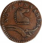 1786 New Jersey Copper. Maris 24-P, W-4965. Rarity-2. Narrow Shield, Curved Plow Beam. VF-25 (PCGS).