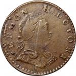 1788 Vermont copper. Ryder-18, W-2135. Rarity-5. Mailed Bust Right. ET LIB INDE. EF-40. 110.9 grains