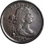 1804 Draped Bust Half Cent. C-11. Rarity-3+. Plain 4, Stems to Wreath. Fine-12 Damaged.