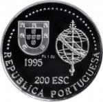PORTUGAL. Platinum 200 Escudos, 1995. NGC PROOF-69 Ultra Cameo.