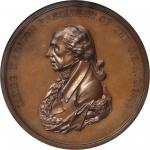 1809 James Madison Indian Peace Medal. First Size. First Reverse. Bronze. 76 mm. Julian IP-5. MS-64